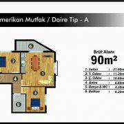 2+1 Amerikan Mutfak / Daire Tip – A